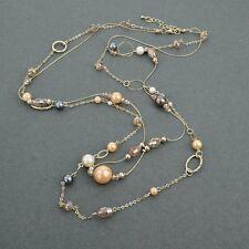 Collier sautoir mode, bohème chic, 91 cm, perles en nacré et anneaux or, neuf