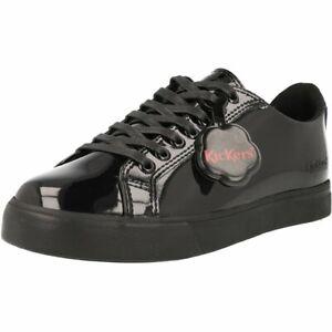 Kickers Tovni Lacer Y Black Patent Junior School Shoes