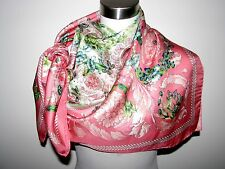VERSACE BAROQUE LADYBUGS&BUTTERFLIES 100% SILK 36X36 PINK SCARF Made in Italy