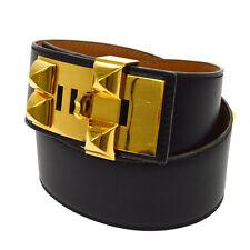 Authentic HERMES HERMES Vintage Medoru Studded Belt Box Calf France NR10808j