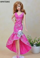 Pink Fashion Long Evening Dress For Barbie Doll Clothes Party Dress For 1/6 BJD
