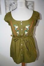 Blutsschwester wunderschöne bestickte Sommer Bluse Gr. S / 36 Olive Grün