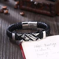 Mens Womens Leather Stainless Steel Bracelet Love Infinity Charm Bangle Black