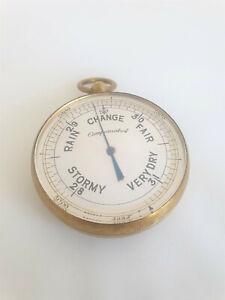 Antique / Vintage Gilded Brass Pocket Barometer / Altimeter - Working Order