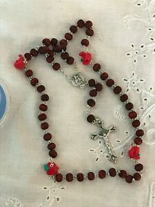 Saint Padre Pio Wood Rose Perfumed Rosary Beads w Special Resin Our Father Beads