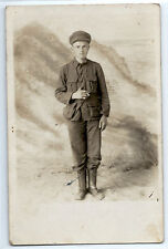 WWI French soldier with cigarette, real photo postcard RPPC; World War I c. 1917