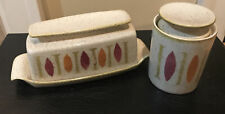 MID CENTURY MODERN MCM RED WING PEPE BUTTER DISH WITH COVER & SUGAR JAR & LID
