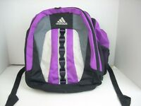 Adidas Backpack Bag Purple Gray & Black Mesh School  Padded Laptop #8160 Tablet