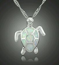 WHITE SEA TURTLE WHITE FIRE OPAL INLAY SILVER SF JEWELRY NECKLACE PENDANT