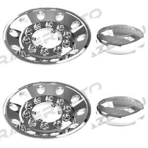 "Semi Truck Triple Chrome 22.5"" Rear Wheel Simulator Liner+Center Caps Cover 2pc"