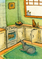 ACEO PRINT - Waiting for Chicken - dog, cat, pets, signed art, painting, drawing