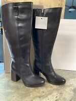 Kendra Black Leather Franco Sarto Boots Sz 9M Wide Calf Tall Shaft Button Accent