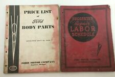 2 Vintage Ford Motor Co. 1938 Price List Of Body Parts & 1937 Repair Labor Sched