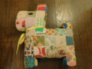 "Vtg Handmade Patchwork Cloth Quilt Scottie Dog Stuffed Plush 12 x 10"" Pillow FUN"