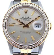 Rolex Datejust Hombre 18Ct Oro Amarillo Reloj de Acero 1.30ct Ct Bisel con