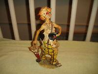 Vintage Clown Statue Sculpture Resin Material Clown Umbrella Creepy Clown