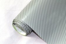 13€/m² 4D Carbon Folie - SILBER - 50 x 152 cm flexibel Auto Klebe Folie Wrapping