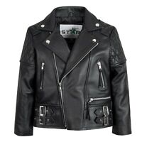 Kids Leather Biker Jacket Brando Motorcycle Quilted Boys/Girls (4 To 13 Years)