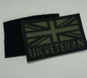 UK Forces Veteran Green Laser Cut Flag Patch, 8cm x 5cm - Hook and Loop backing