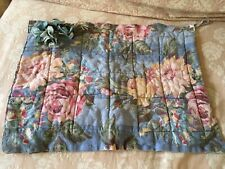 Adorable Antique Chair Pad Blue Cotton Fabric Pink Cabbage Roses #E