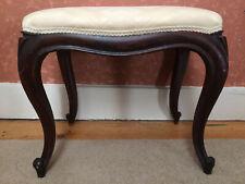 Antique Upholstered Window Stool / Window Seat / Cream Fabric / Walnut Legs