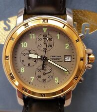 Samsung Wristwatch Gold Face Watch. Date Chronograph Leather Band Japan Movement