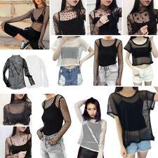 Women Hollow Mesh Net T-Shirt Short/Long Sleeve Tee Tops Transparent Blouse Crop