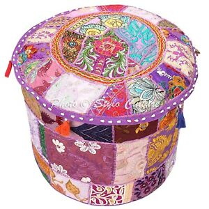 "Ethnic Round Pouf Cover Patchwork Embroidered Foot Ottoman Bohemian 16"" Purple"