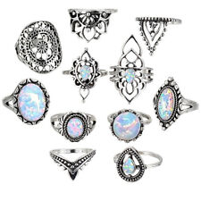 11pcs Female Retro Silver Color Fire Opal Ring Set Charm Gemstone Ring BS