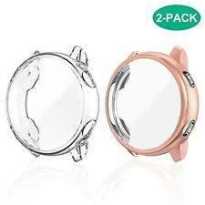2 Pack Samsung Galaxy Watch Active Case Screen Protector Cover Bumper Clear Pink