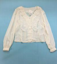 Anthropologie Seen Worn Kept Ivory Pure Silk Embroidered V Neck Blouse UK 8 US 4