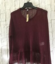 American Eagle BURGUNDY  Lace Scoop Neck SOME LOVE Loose Fit Top M  Summer NWT