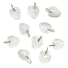 Shiny Clear Glass Leaf Charm Pendants 16x12mm Pack of 10 (B65/10)