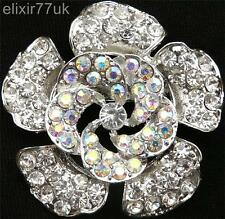 SILVER FLOWER BOUQUET & DIAMANTE CRYSTAL BROOCH WEDDING BRIDAL PROM PARTY BROACH