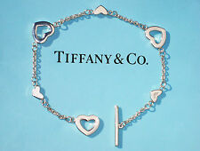Tiffany & Co Sterling Silver Heart Link Toggle Bracelet