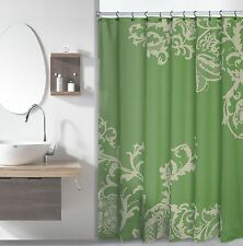 Sage Green Luxury Fabric Shower Curtain with Light Green Floral Pattern