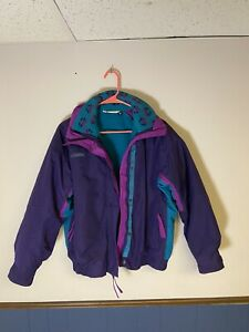 COLUMBIA Vintage Bugaboo Ski Jacket Womens US M Purple and Teal With Liner Coat