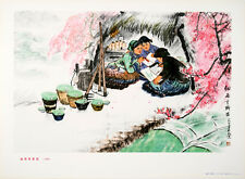 Original Vintage Poster Chinese Cultural Revolution 3 Girls Writing 1974