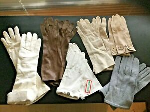 6 pairs VINTAGE LEATHER GLOVES Opera Wrist some never worn!!