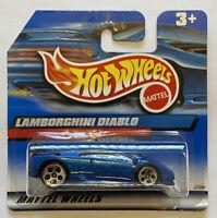 2000 Hotwheels Lamborghini Diablo Blue European Short Card MOC!