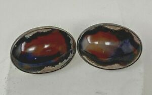 VINTAGE STERLING SILVER AND AGATE CUFFLINKS MODERNIST LOOK Large Cabochon Stones