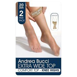 Andrea Bucci Extra Wide Comfort Top Sheer Knee High Socks 20 Denier 2 Pair Pack