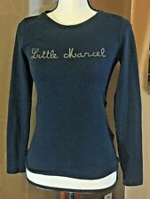 Little Marcel Womens Navy Blue Rainbow elbow patch long sleeve T shirt small