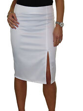 Ladies Front Side Split Midi Stretch Satin Look Pencil Skirt White NEW 6-18