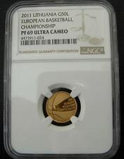 Lithuania 2011 Gold 50 Litu NGC PF-69UC European Basketball Championship
