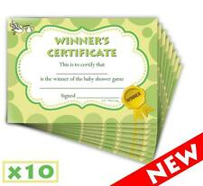 Baby Shower Winners Certificate - Boy Girl Unisex - Party Game Prize - 10 Pack