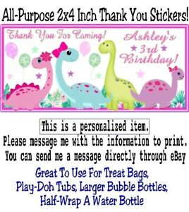 20 Dinosaurs Pink Birthday Party Baby Shower Thank You Stickers Labels Girl