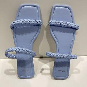 Novo Zecca Slide Sandal Flat - Blue - 9 - Plait Braid