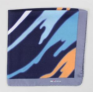 Kiton Pocket Square Navy Blue Gray Orange Yellow White 100% Silk Hand Stitched