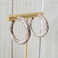 925 Sterling Silver Twisted Textured Hoop Earrings